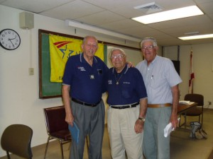 "FLARA President Tony Fransetta on left, Sid Brokofsky, President of Delray ARA in center,  and Donald ""David"" Singer on right at a ARA meeting in Delray Beach, Florida"